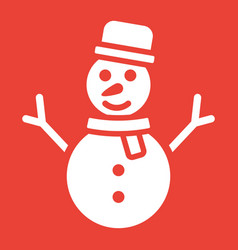 snowman glyph icon new year and christmas vector image