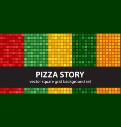 square pattern set pizza story seamless tile vector image