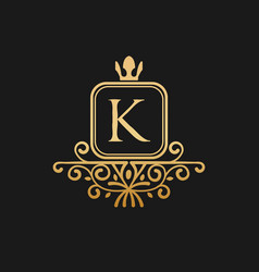 the king with crown logo inspiration letter k vector image