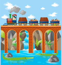 Train loaded with rocks and woods over bridge vector