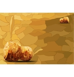 Two champagne corks lying of mosaics vector