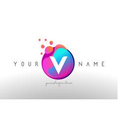 v dots letter logo with bubbles a letter design vector image