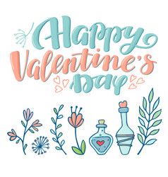 valentine day greeting card with love potions vector image