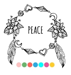 Vintage boho style coloring wreath vector
