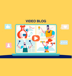 vlog video blogging flat vector image