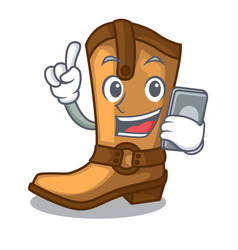 With phone cowboy boots in the shape cartoon vector