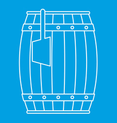 Wooden barrel with ladle icon outline vector