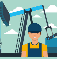 worker man and pump jack oil industry vector image