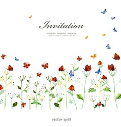 cute floral border with butterflies watercolor vector image
