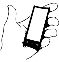 Hand holding flexible phone vector image