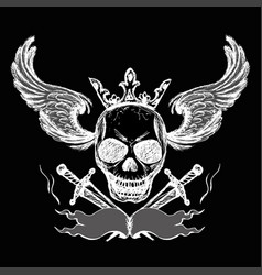 skulls wings tattoo hand drawing vector image