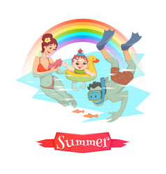 the people having fun at summer vector image
