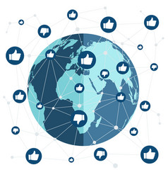 world connection with like and dislike vector image vector image