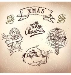 christmas tattoo set vector image
