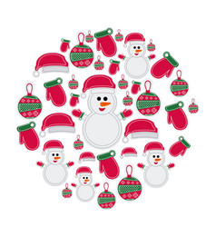 Colorful pattern of christmas silhouettes in round vector