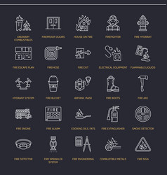 firefighting fire safety equipment flat line vector image
