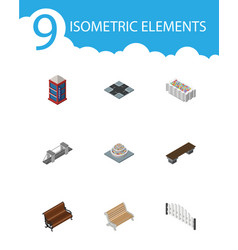 isometric architecture set of flower decoration vector image