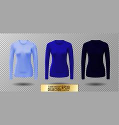 long sleeve blank shirt blue shirt mockup vector image