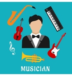 Musician and instruments flat icons vector image