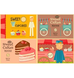 Set of Cakes Mini Posters vector image vector image