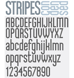 Stripes retro style graphic font vector image vector image