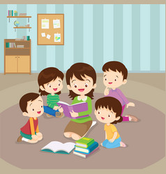 teacher reading for kids vector image