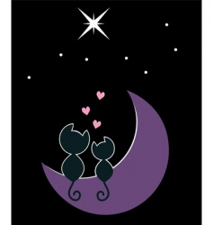 two cats on the moon vector image vector image