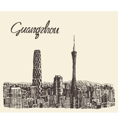 Guangzhou skyline drawn sketch vector image vector image