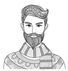 Hipster guy coloring vector image vector image