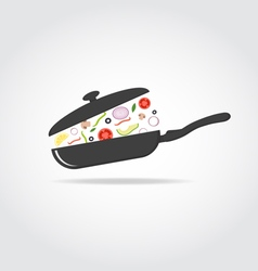 Pan with vegetables and cap vector image vector image