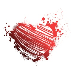 red grunge heart vector image vector image