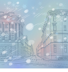 winter Christmas Urban landscape the wide avenue vector image