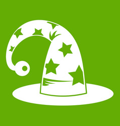 wizards hat icon green vector image