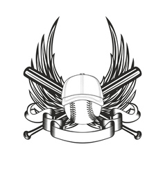 ball in baseball cap and wings vector image vector image