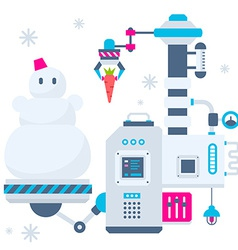 Christmas of the machines that make a snowma vector image vector image