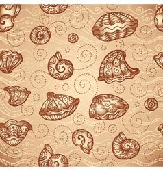 doodle seashells vintage pattern vector image