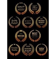 Golden laurel wreaths for Quality Guarantees label vector image