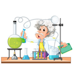old scientist works in lab vector image