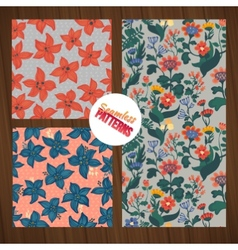 Seamless flower pattern set Summer tiny floral vector image