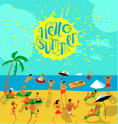 Summer beach people set tropical background with vector