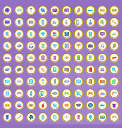 100 device icons set in cartoon style vector