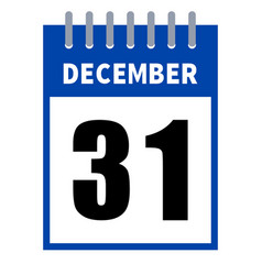 31 december calendar in a flat design isolated on vector image