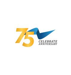 75 years anniversary celebration elegant ribbon vector
