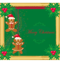 Abstract card with Christmas gingerbread vector
