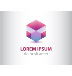 abstract geometric crystal logo for company vector image