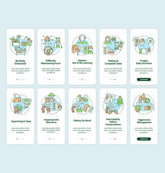 Adhd symptoms in adults onboarding mobile app vector