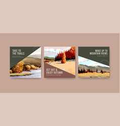 Ads template with landscape in autumn design vector