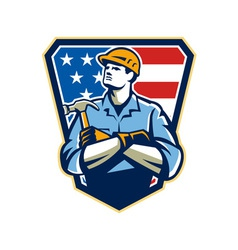 American Builder Carpenter Hammer Crest Retro vector