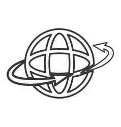arrow and planet earth diagram icon vector image
