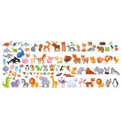 Big set with animals in cartoon style vector